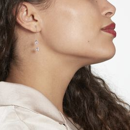 Boucles D'oreilles Pendantes Djime Or Blanc Amethyste - Boucles d'oreilles pendantes Femme | Histoire d'Or