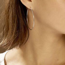 Créoles Djoe Flexible Rondes Or Blanc - Boucles d'oreilles créoles Femme   Histoire d'Or