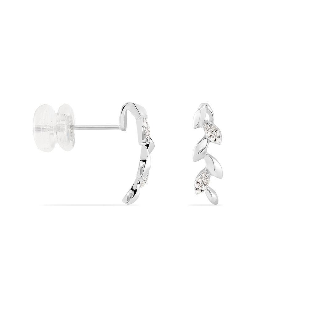 Boucles D'oreilles Puces Anthea Or Blanc Diamant - Boucles d'Oreilles Plume Femme | Histoire d'Or