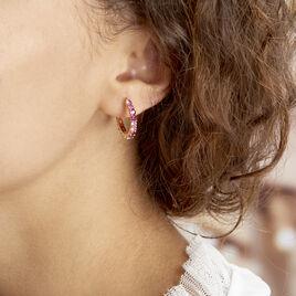 Créoles Zoelia Rondes Plaque Or Jaune Perle D'imitation - Boucles d'oreilles créoles Femme   Histoire d'Or