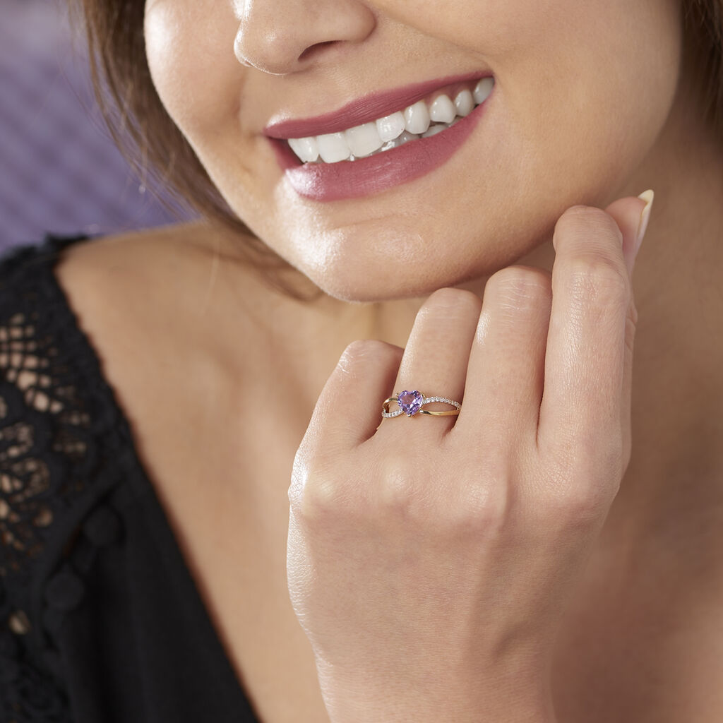 Bague Bertille Or Jaune Amethyste Et Oxyde De Zirconium - Bagues Coeur Femme | Histoire d'Or