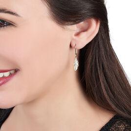 Boucles D'oreilles Pendantes Hanae Plaque Or Jaune - Boucles d'Oreilles Plume Femme   Histoire d'Or