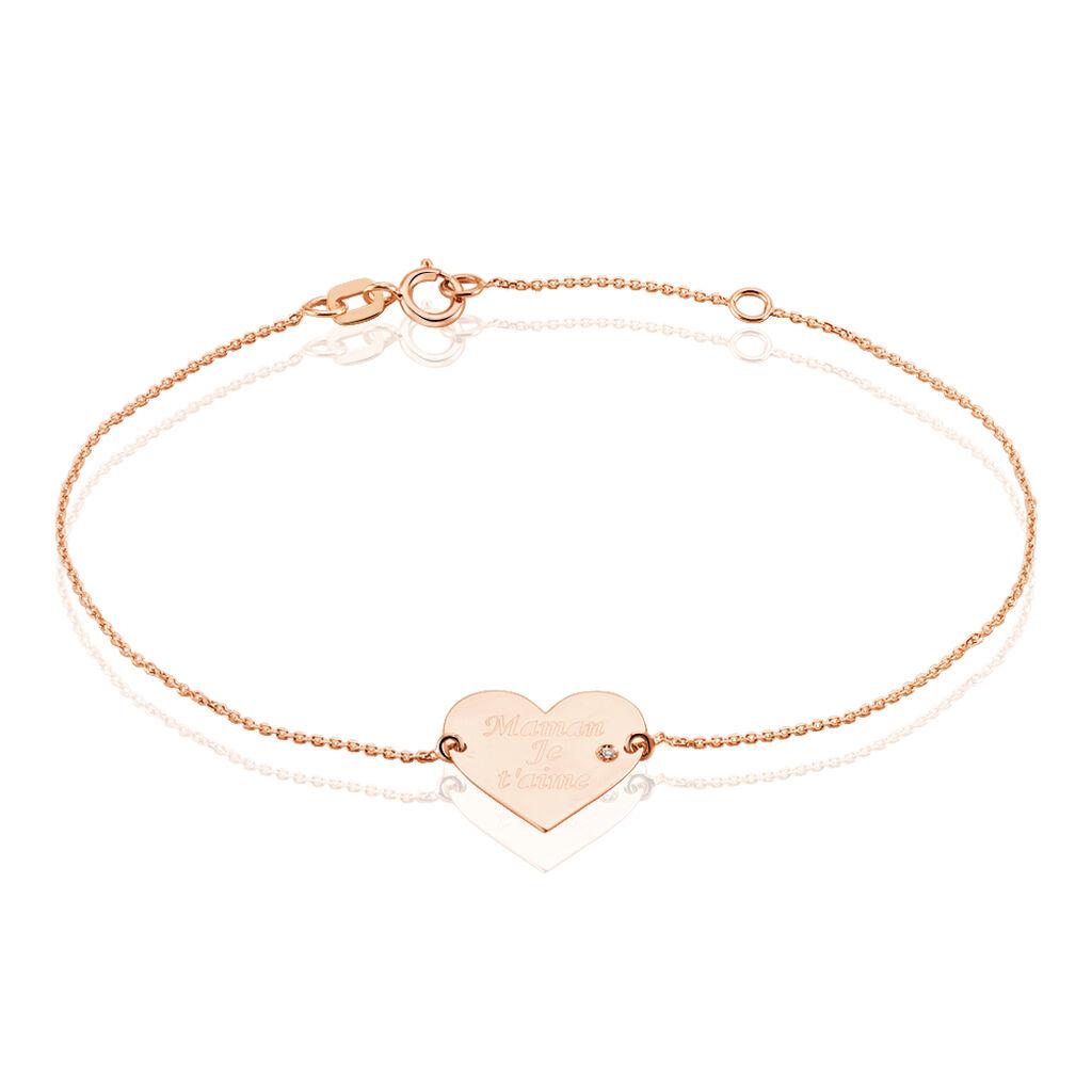Bracelet Sofia Coeur Or Rose Oxyde De Zirconium - Bracelets Coeur Femme   Histoire d'Or