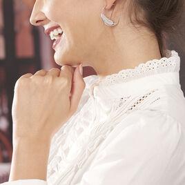 Créoles Alison Argent Blanc - Boucles d'Oreilles Plume Femme | Histoire d'Or
