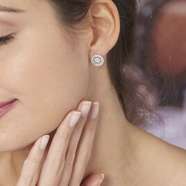 Boucles D'oreilles Puces Hyelana Argent Blanc Oxyde De Zirconium - Boucles d'oreilles fantaisie Femme   Histoire d'Or
