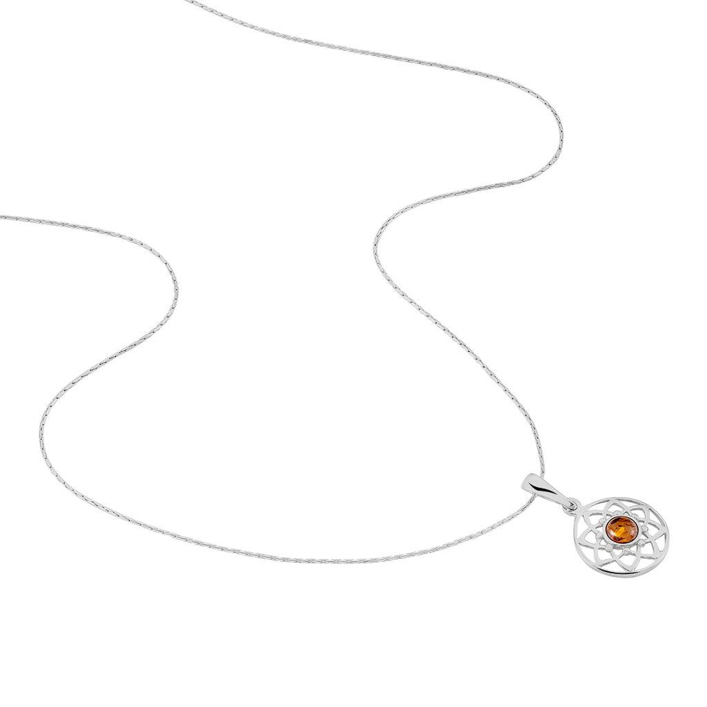 Collier Capucina Argent Blanc Ambre - Colliers fantaisie Femme | Histoire d'Or