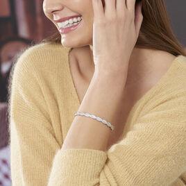 Bracelet Jonc Colleen Argent Blanc Oxyde De Zirconium - Bracelets joncs Femme | Histoire d'Or
