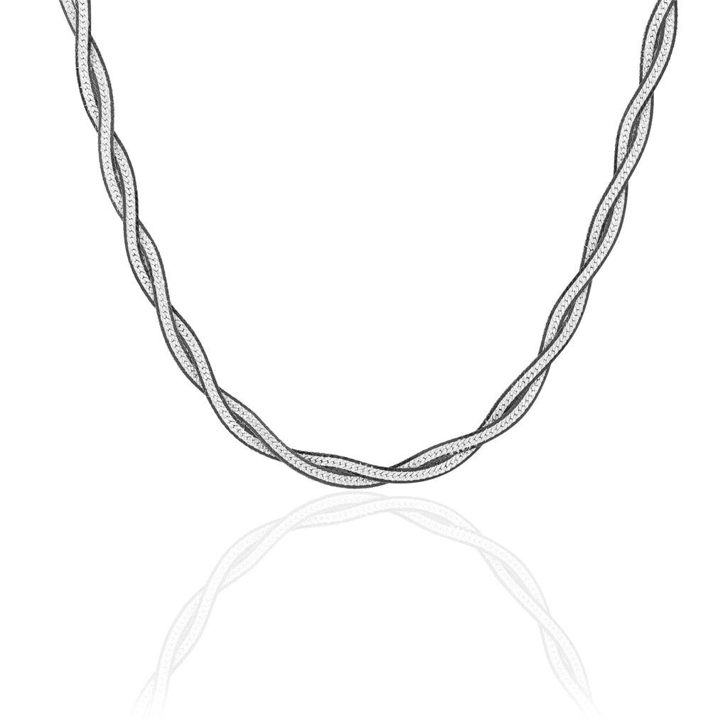 Chaîne Anaiz Maille Tresse Argent Blanc - Chaines Femme | Histoire d'Or