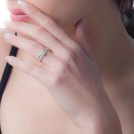 Bague Nevae Or Blanc Oxyde De Zirconium - Bagues solitaires Femme   Histoire d'Or