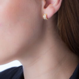 Créoles Doryne Rondes Plaque Or Jaune Oxyde De Zirconium - Boucles d'oreilles créoles Femme | Histoire d'Or
