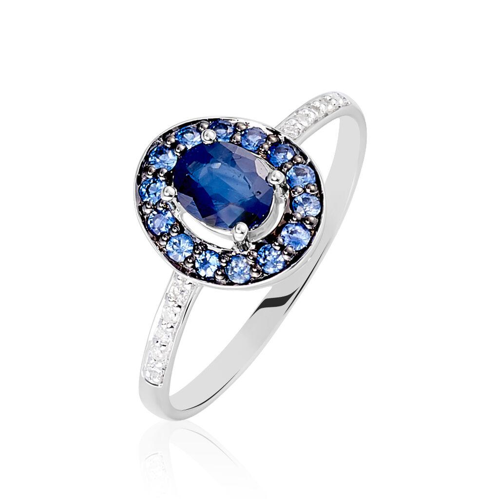 Bague Leona Or Blanc Saphir Diamant - Bagues avec pierre Femme   Histoire d'Or