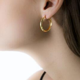 Créoles Vickie Lisses Fil Plat Or Jaune - Boucles d'oreilles créoles Femme   Histoire d'Or