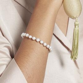 Bracelet Elastiqué Argent Rhodié Sidel Perles De Culture - Bracelets fantaisie Femme   Histoire d'Or