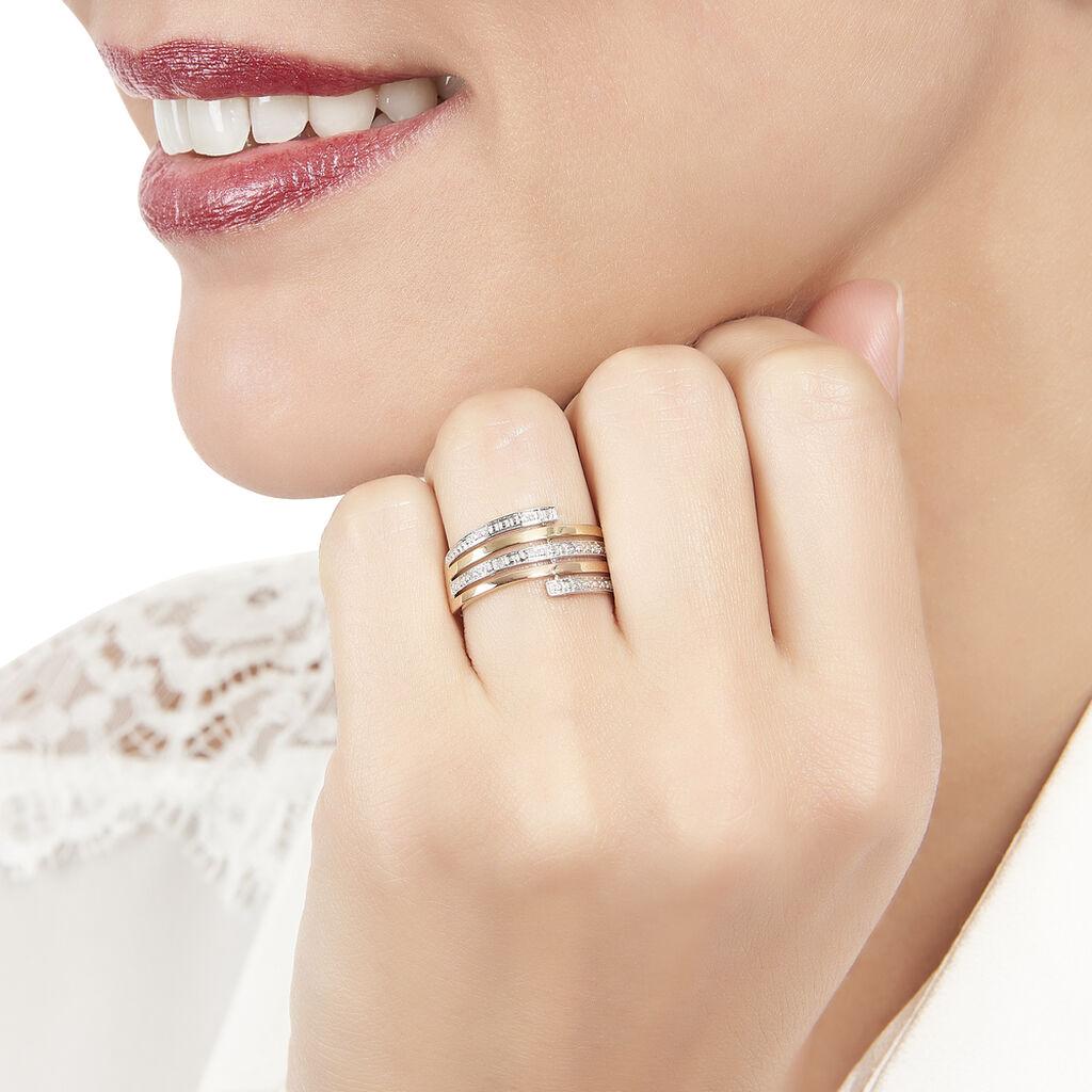 Bague Eleonore Or Tricolore Diamant - Bagues avec pierre Femme   Histoire d'Or