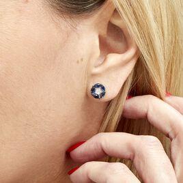 Boucles D'oreilles Puces Milana Or Blanc Saphir Et Diamant - Clous d'oreilles Femme | Histoire d'Or
