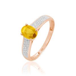 Bague Crista Or Rose Citrine Et Diamant - Bagues avec pierre Femme | Histoire d'Or