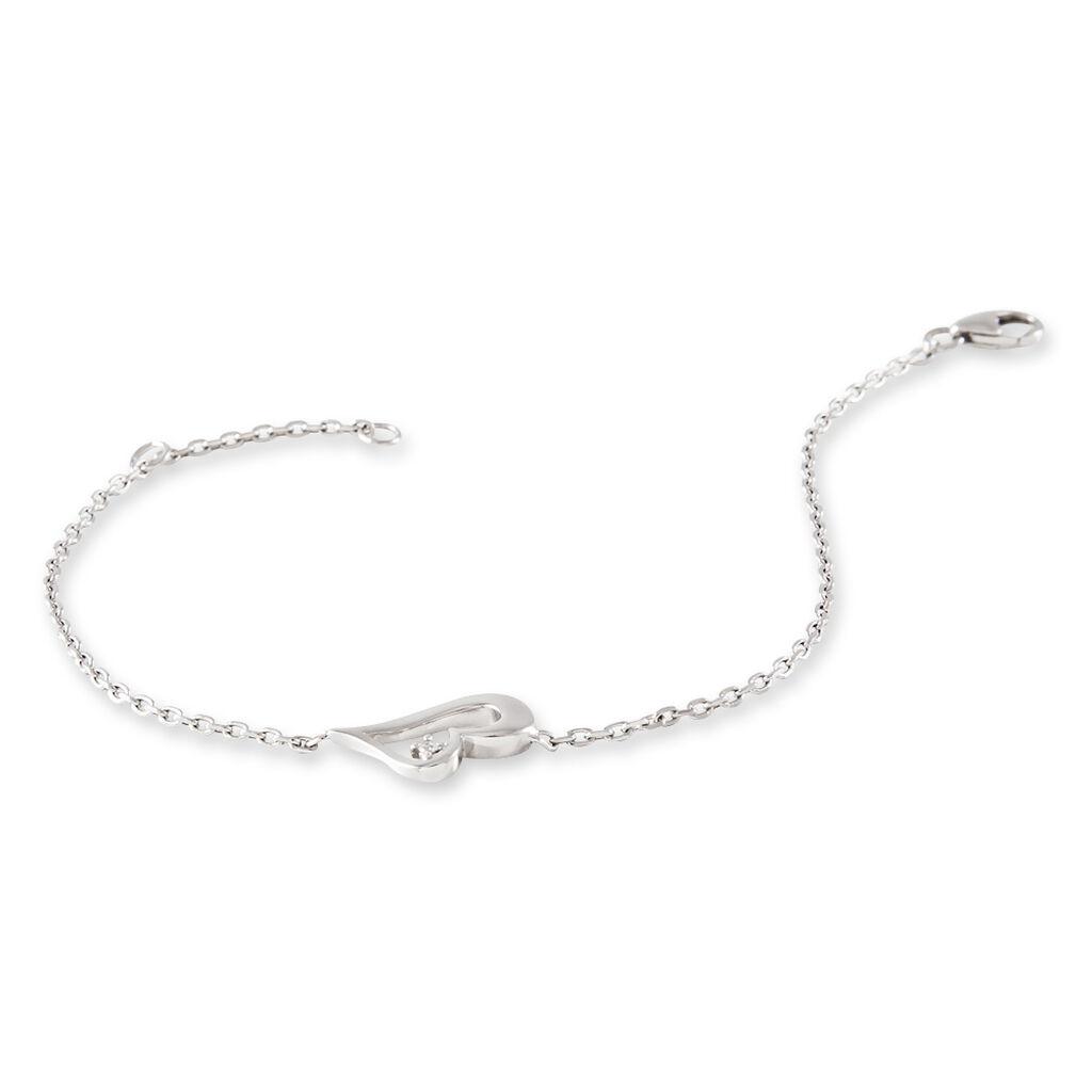 Bracelet Israa Argent Blanc Oxyde De Zirconium - Bracelets Coeur Femme | Histoire d'Or