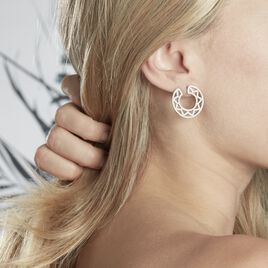 Boucles D'oreilles Pendantes Abia Argent Blanc Oxyde De Zirconium - Boucles d'oreilles pendantes Femme   Histoire d'Or