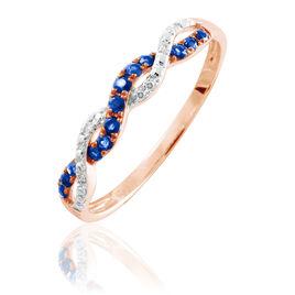 Bague Sofia Or Rose Saphir Et Diamant - Bagues avec pierre Femme | Histoire d'Or