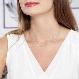 Collier Collie Argent Blanc Oxyde De Zirconium - Colliers fantaisie Femme   Histoire d'Or