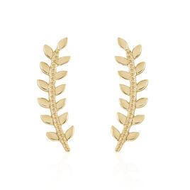 Bijoux D'oreilles Plaqué Or Folina - Boucles d'Oreilles Plume Femme | Histoire d'Or