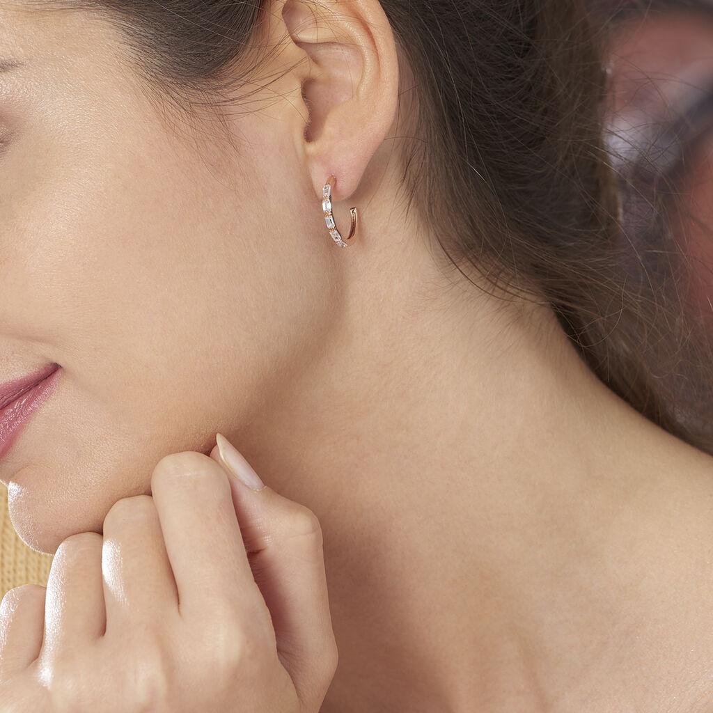 Créoles Merya Baguette Plaque Or Rose Oxyde De Zirconium - Boucles d'oreilles créoles Femme | Histoire d'Or