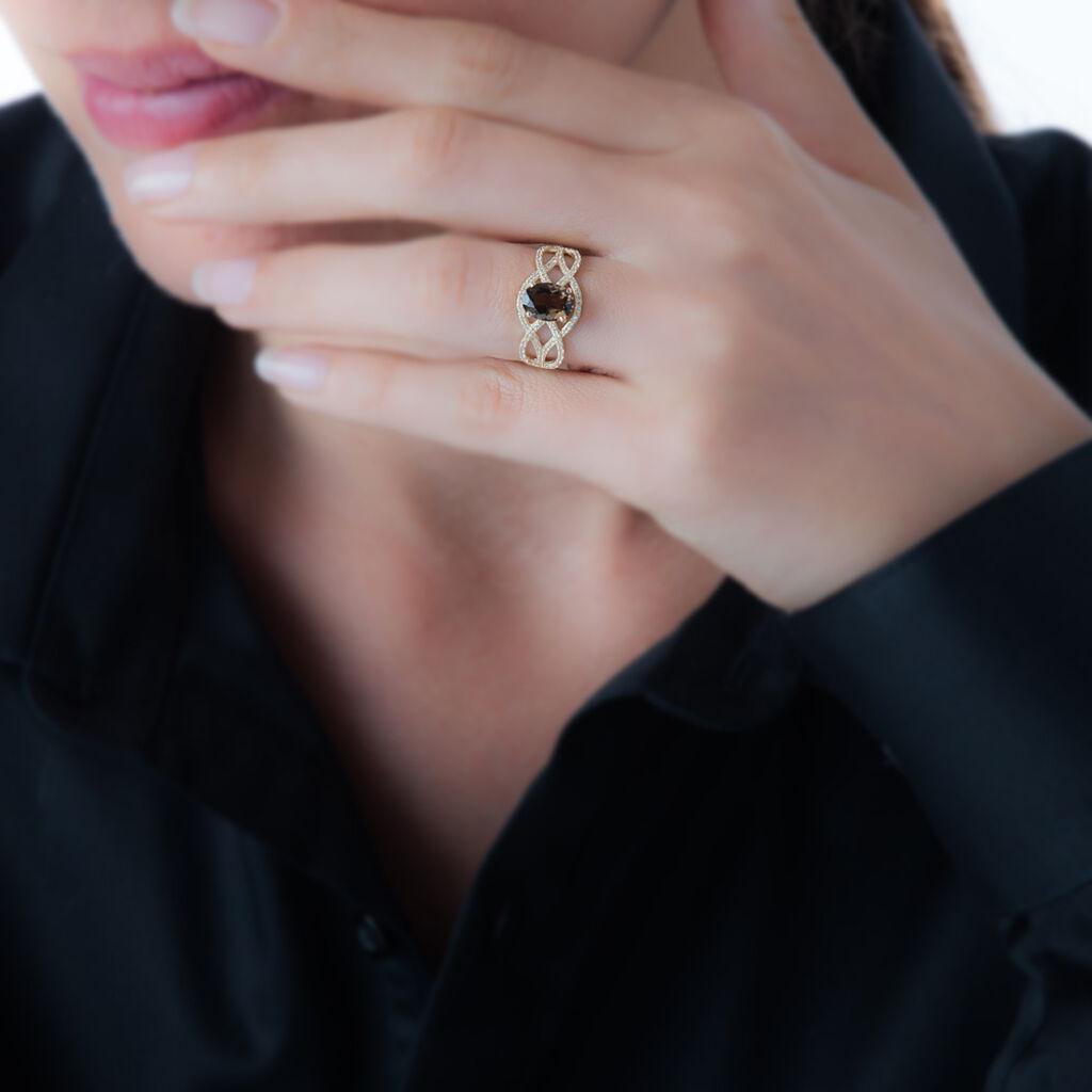 Bague Tina Or Jaune Quartz Et Oxyde De Zirconium - Bagues solitaires Femme   Histoire d'Or