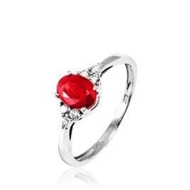 Bague Lea Or Blanc Rubis Et Diamant - Bagues avec pierre Femme | Histoire d'Or