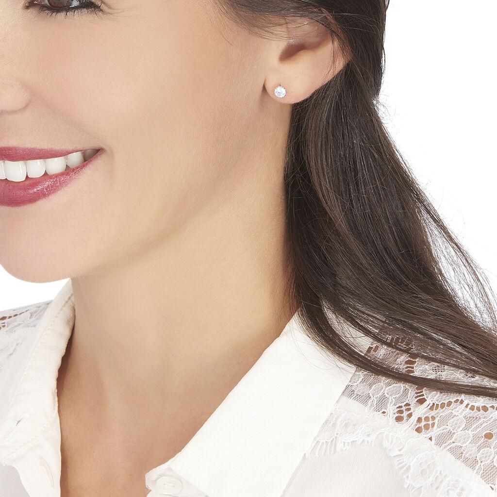 Boucles D'oreilles Puces Kadidia Or Blanc Oxyde De Zirconium - Clous d'oreilles Femme | Histoire d'Or