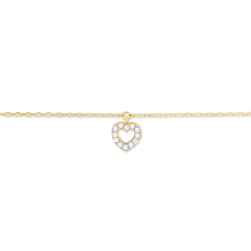 Chaîne De Cheville Samanta Or Jaune Oxyde De Zirconium - Bijoux Coeur Femme   Histoire d'Or