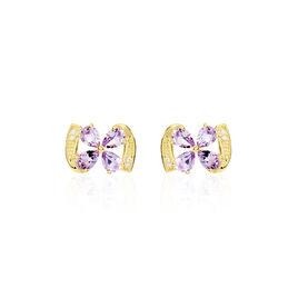 Boucles D'oreilles Pendantes Or Jaune Amethyste Et Oxyde De Zirconium - Boucles d'Oreilles Lune Femme | Histoire d'Or
