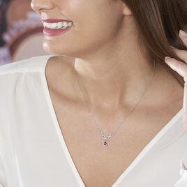 Collier Sissi Or Blanc Diamant Et Rubis - Colliers Infini Femme   Histoire d'Or