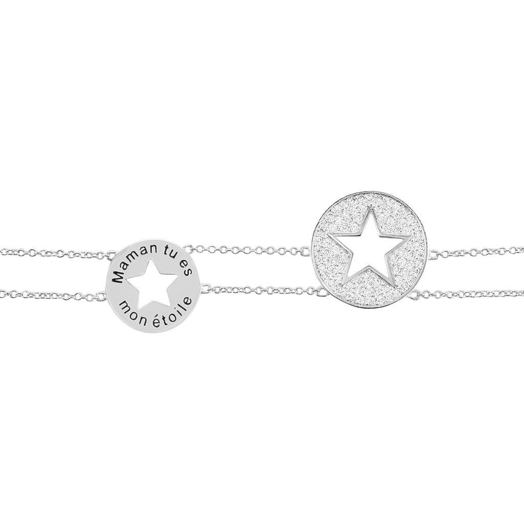 Bracelet Ambre Argent Blanc Oxyde De Zirconium - Bijoux Etoile Femme   Histoire d'Or