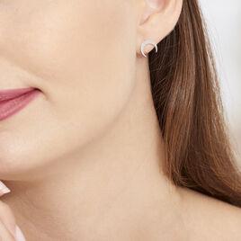 Boucles D'oreilles Puces Astre Argent Blanc - Boucles d'Oreilles Lune Femme | Histoire d'Or