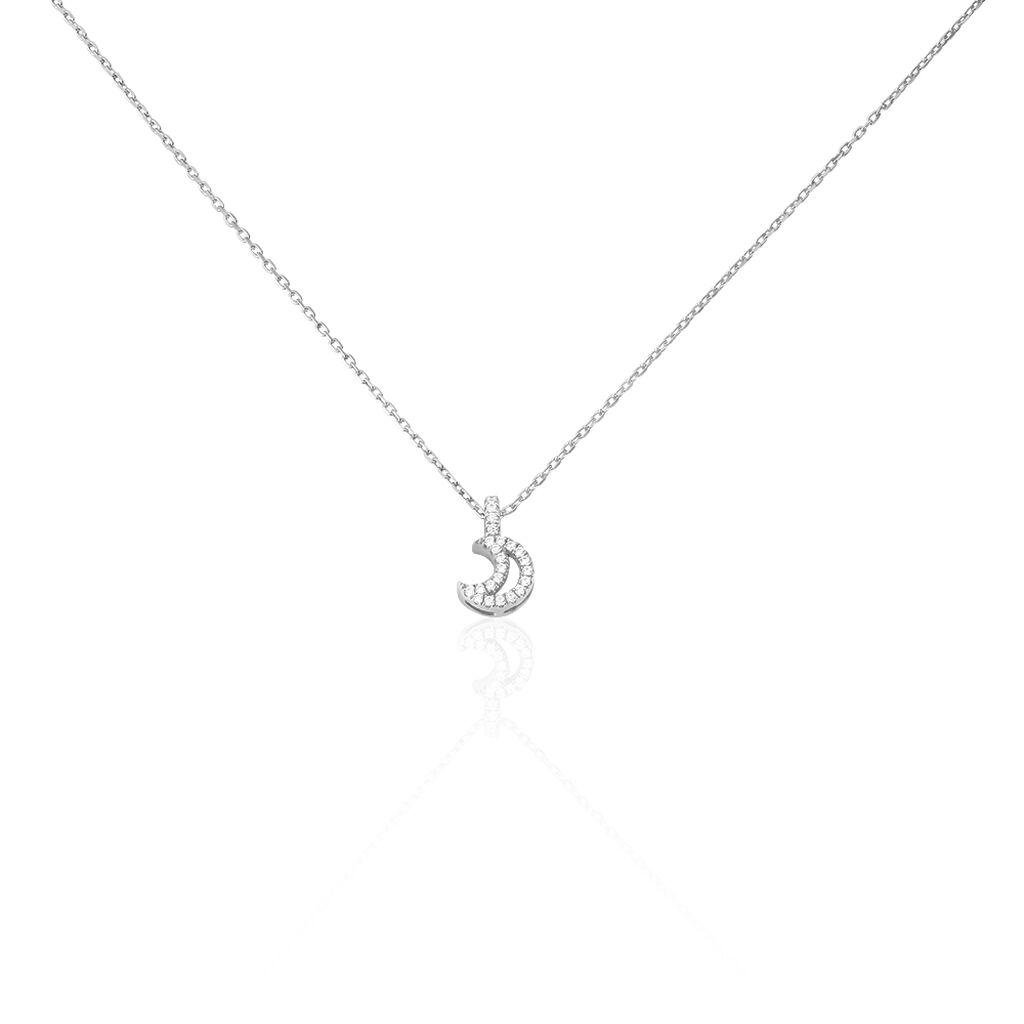 Collier Philine Argent Blanc Oxyde De Zirconium - Colliers Lune Femme | Histoire d'Or
