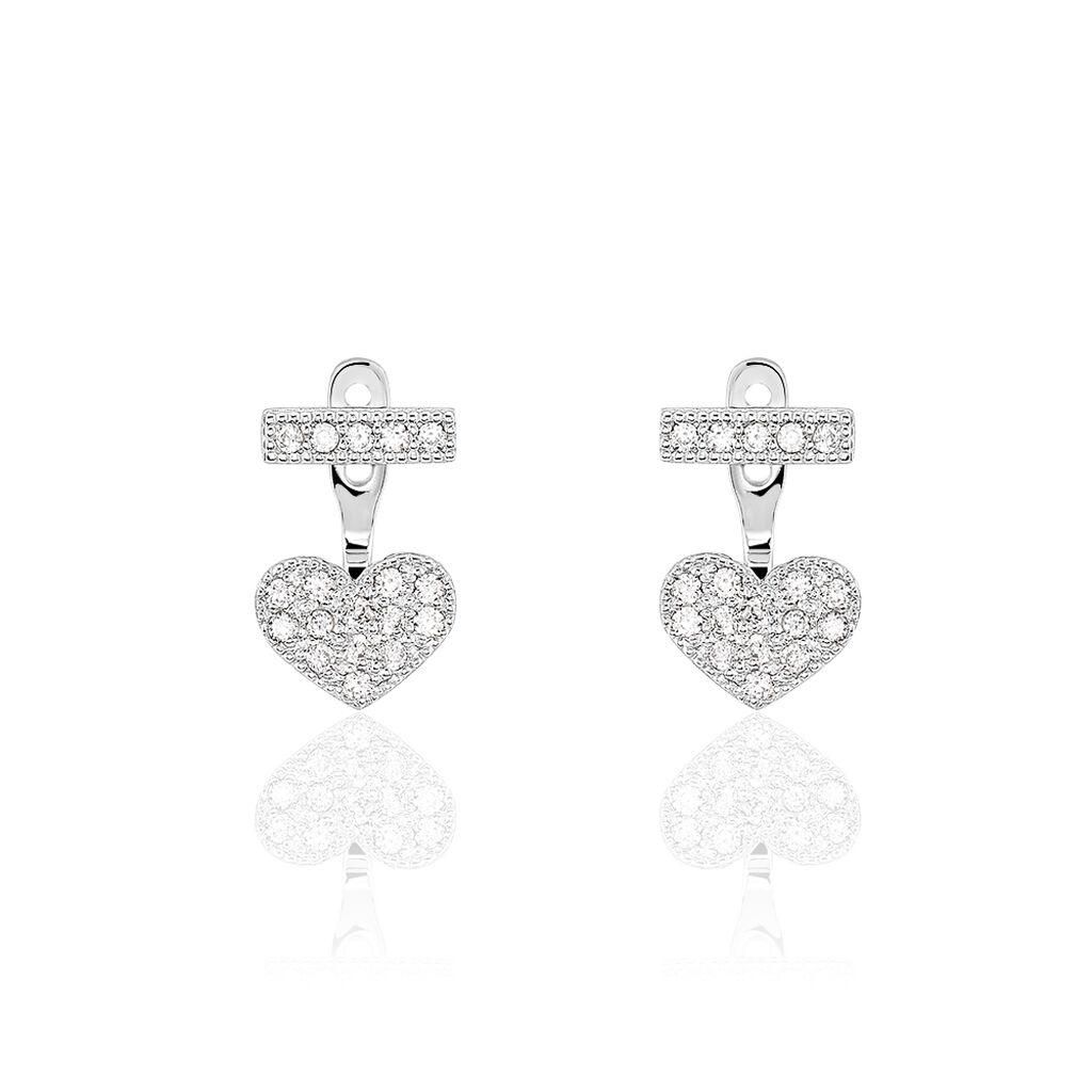 Bijoux D'oreilles Tiama Argent Blanc Oxyde De Zirconium - Boucles d'oreilles fantaisie Femme   Histoire d'Or