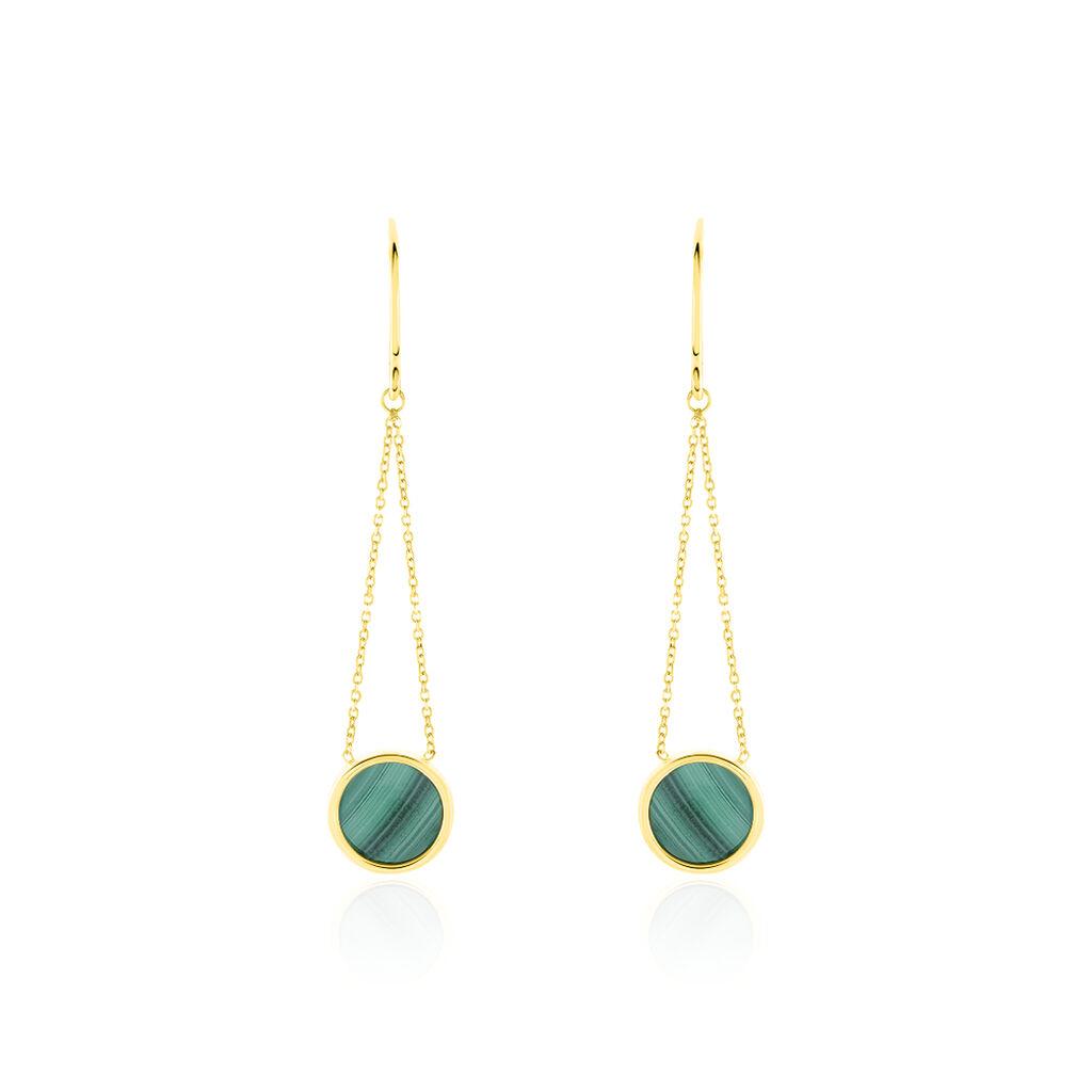 Boucles D'oreilles Puces Florica Or Jaune Malachite - Boucles d'oreilles pendantes Femme | Histoire d'Or