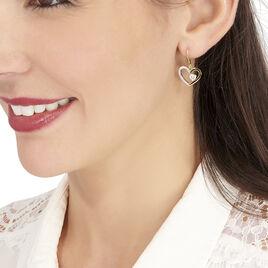 Boucles D'oreilles Pendantes Hafssaae Plaque Or Oxyde De Zirconium - Boucles d'Oreilles Coeur Femme | Histoire d'Or