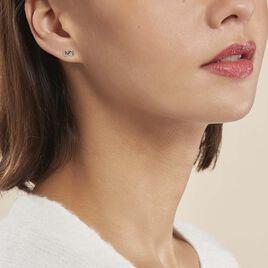 Boucles D'oreilles Puces Cony Argent Blanc - Boucles d'oreilles fantaisie Femme | Histoire d'Or