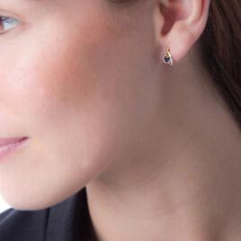 Boucles D'oreilles Puces Sagesse Or Jaune Saphir Et Diamant - Clous d'oreilles Femme   Histoire d'Or