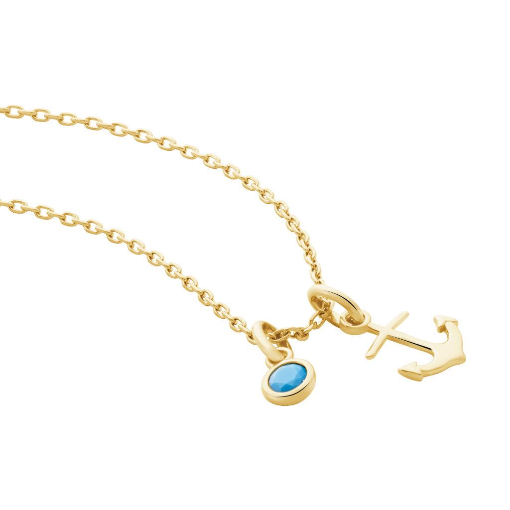 Collier Gana Plaque Or Jaune Pierre De Synthese - Bijoux Ancre Femme | Histoire d'Or