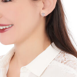 Boucles D'oreilles Pendantes Cataleya Argent Blanc Oxyde De Zirconium - Boucles d'oreilles fantaisie Femme   Histoire d'Or