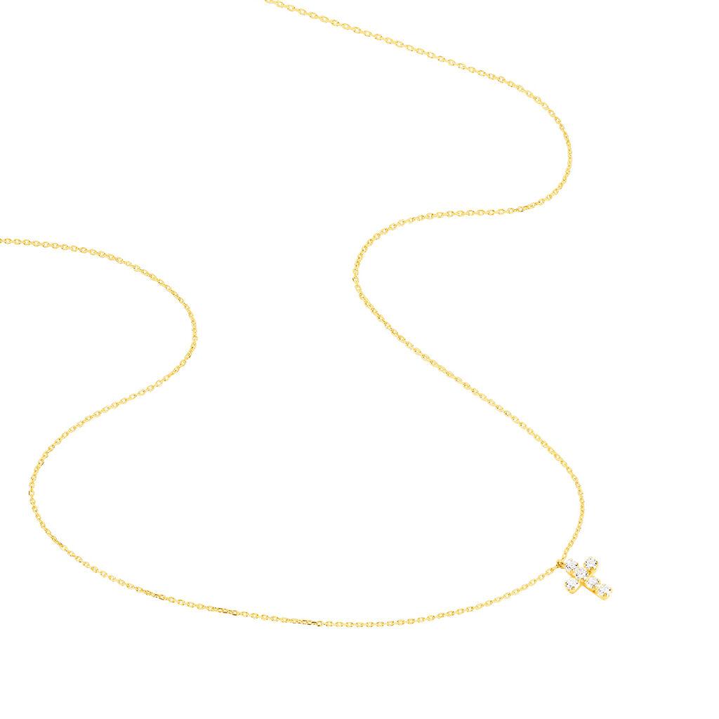 Collier Canice Croix Or Jaune Oxyde De Zirconium - Colliers Croix Famille   Histoire d'Or