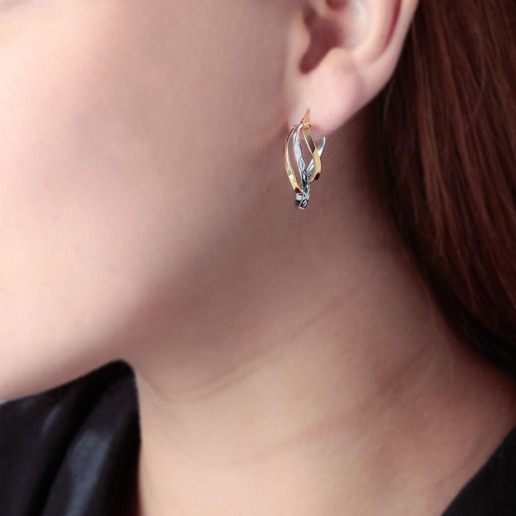 Créoles Holly Vrillees Fils Carres Or Bicolore - Boucles d'oreilles créoles Femme | Histoire d'Or
