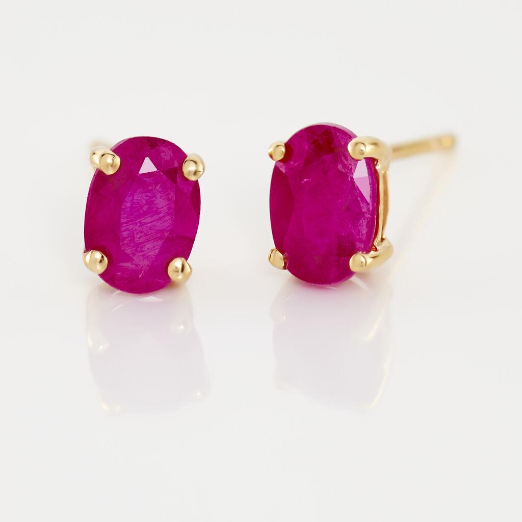 Boucles D'oreilles Puces Ovale Or Jaune Rubis - Clous d'oreilles Femme   Histoire d'Or
