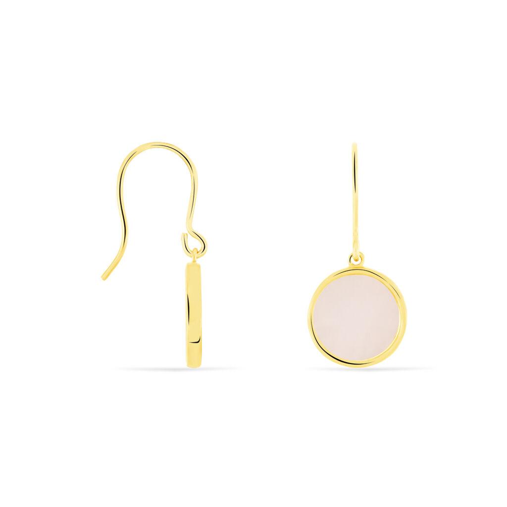 Boucles D'oreilles Puces Cemre Or Jaune Calcedoine - Boucles d'oreilles pendantes Femme   Histoire d'Or