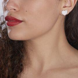 Boucles D'oreilles Puces Darwin Argent Blanc Oxyde - Boucles d'Oreilles Coeur Femme   Histoire d'Or