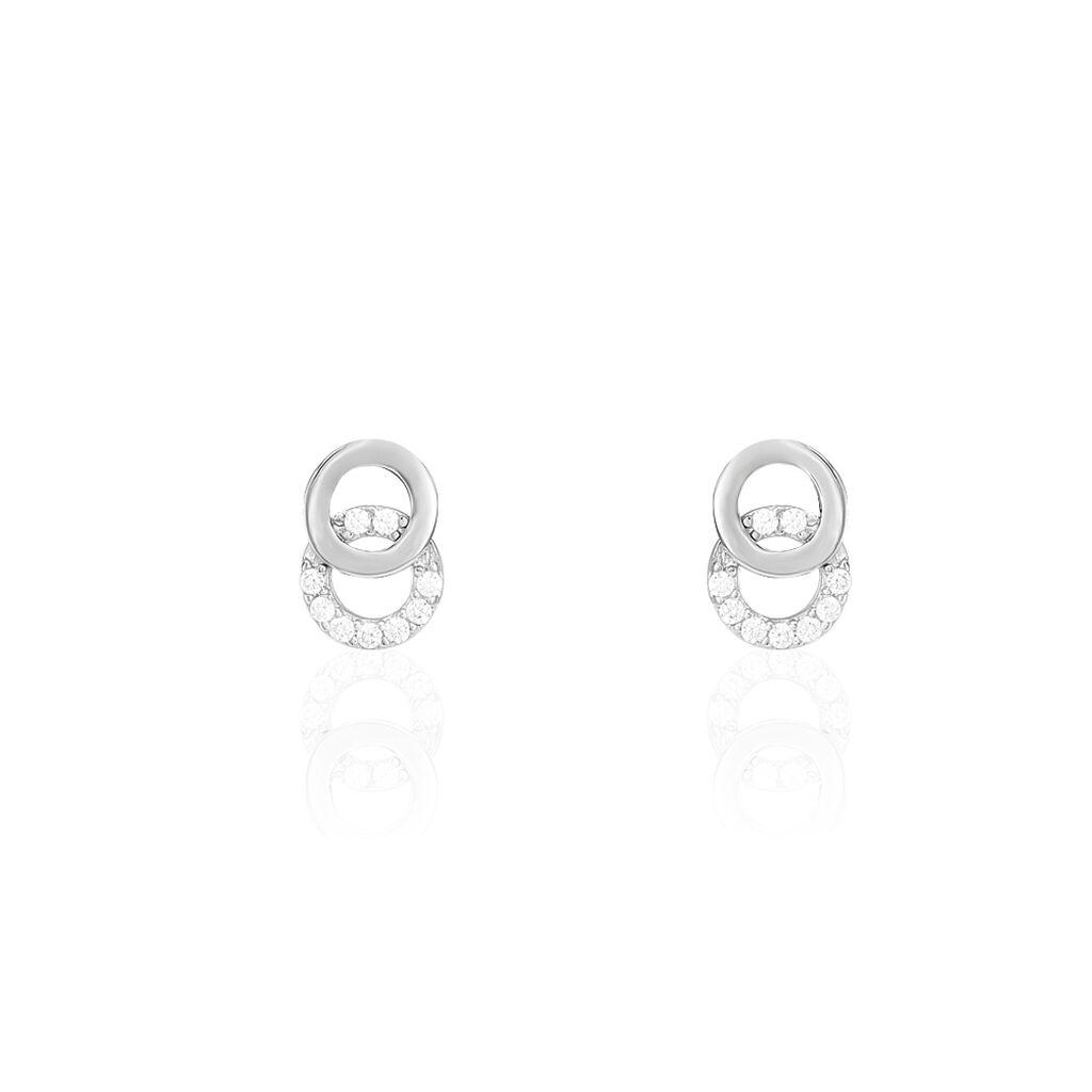 Boucles D'oreilles Or Blanc Cercle Oxyde - Clous d'oreilles Femme   Histoire d'Or