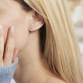 Boucles D'oreilles Puces Ayana Argent Blanc - Boucles d'oreilles fantaisie Femme   Histoire d'Or