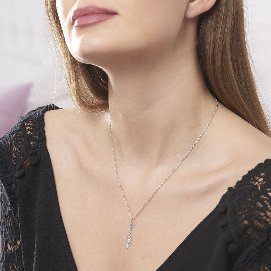 Collier Yalina Argent Blanc Pierre De Synthese - Colliers fantaisie Femme   Histoire d'Or